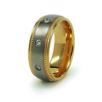 Gold Plated Milgrain Titanium CZ Eternity Wedding Band