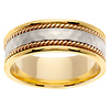 14K Two Tone Hammer Finish Wedding Ring