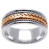 Two Tone 14K Gold Rope and Braid Wedding Band