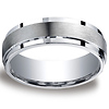7mm Satin Center Argentium Silver Comfort-Fit Wedding Band thumb 0