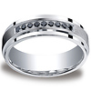 7mm Comfort-Fit Argentium Silver 9 Black Diamond Band by Benchmark thumb 0