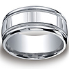 10mm Comfort-Fit Polished Milgrain Argentium Silver Men's Wedding Ring thumb 0