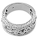 14K White Gold Art Deco Floral Diamond Ring Band 0.25ctw thumb 3