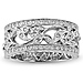 14K White Gold Art Deco Floral Diamond Ring Band 0.25ctw thumb 2