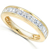 14K Yellow Gold 1 CTW Princess Diamond Channel Set Wedding Band thumb 1