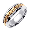 7mm Contemporary Yellow Woven Inlay 14K Two Tone Gold Wedding Band thumb 1