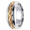 7mm Contemporary Yellow Woven Inlay 14K Two Tone Gold Wedding Band thumb 2