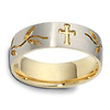 7mm 18K Two Tone Gold Floral Cross Wedding Band thumb 1
